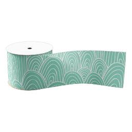 Green white seamlses monogram Pattern ribbon