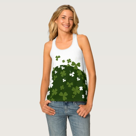 Green & White Shamrock Tank Top