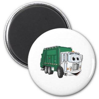 Green White Smiling Garbage Truck Cartoon 2 Inch Round Magnet
