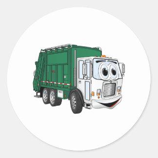 Green White Smiling Garbage Truck Cartoon Classic Round Sticker