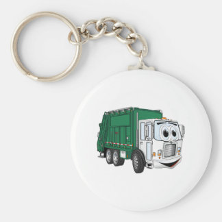 Green White Smiling Garbage Truck Cartoon Keychain