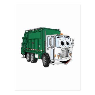Green White Smiling Garbage Truck Cartoon Postcard