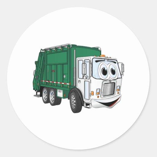 Green White Smiling Garbage Truck Cartoon Stickers