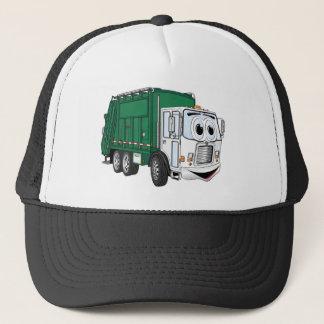 Green White Smiling Garbage Truck Cartoon Trucker Hat