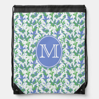 Green White Snowdrop Pattern with Monogram on Blue Drawstring Backpack