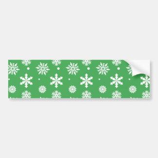 Green White Snowflakes Pattern 1 Car Bumper Sticker