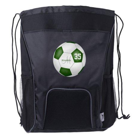 green white soccer ball girls name jersey number drawstring backpack
