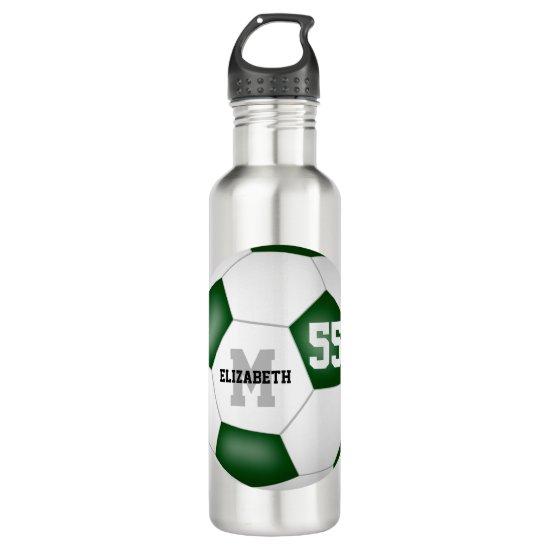 green white soccer girl boy school team colors stainless steel water bottle