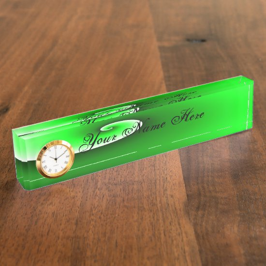 Green White Spiral Gradient Desk Name Plate