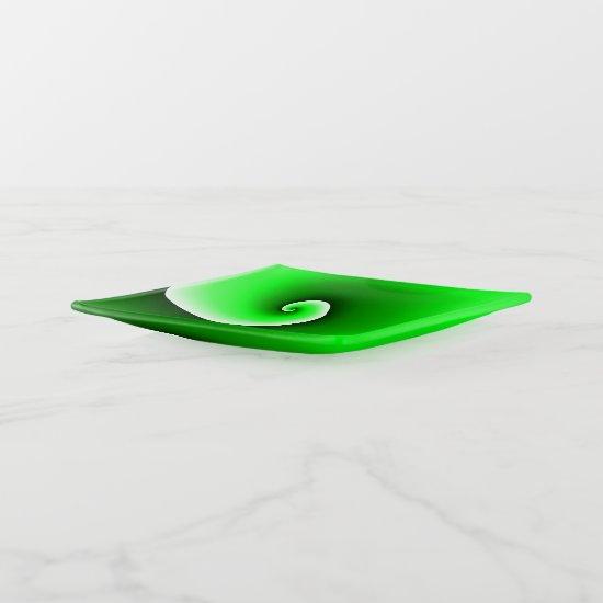 Green White Spiral Gradient Trinket Trays