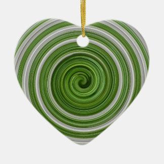 Green-white spiralpattern ceramic ornament