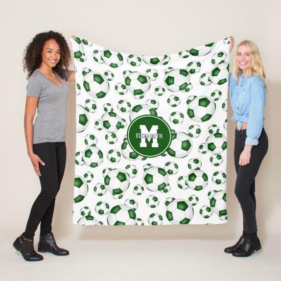 green white sports girls boys soccer room decor fleece blanket