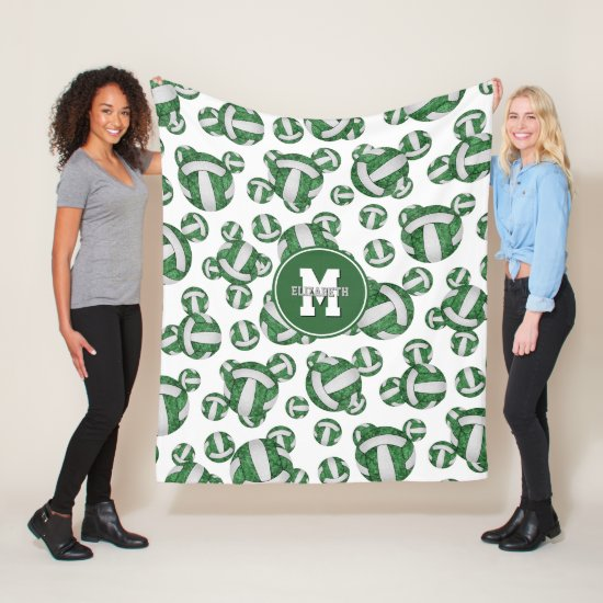 green white sporty team colors girly volleyball fleece blanket