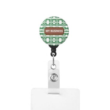 Professional Business Green White Star Line My Business Badge Holder