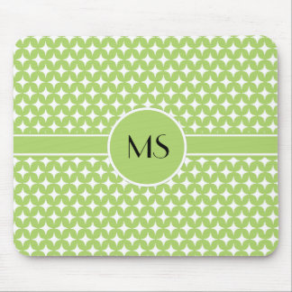 Green White Stars Diamond Monogram Pattern Mouse Pad