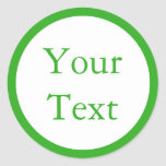 Green & White Stickers or Labels w/ Custom Text Stickers