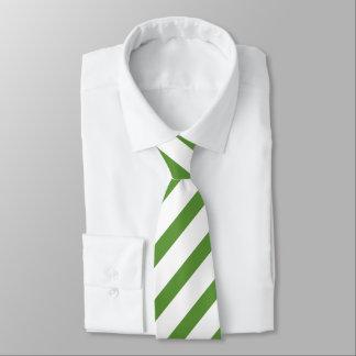 Green white stripe pattern mens tie