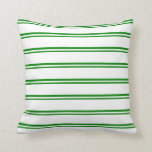 [ Thumbnail: Green & White Striped/Lined Pattern Throw Pillow ]