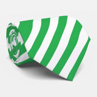 Green & White Striped Men's Dress Tie