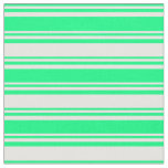 [ Thumbnail: Green & White Striped Pattern Fabric ]