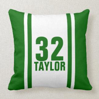Green & White Striped Sports Jersey Throw Pillow