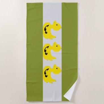 Beach Themed Green White Stripes-3-Yellow Ducks  Beach Towel