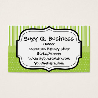 Green White Stripes and Polka Dots with a Ribbon Business Card