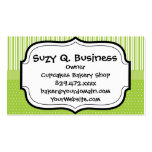 Green White Stripes and Polka Dots with a Ribbon Business Cards