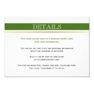 Green & White Stripes Gold Wedding Insert Card at Zazzle