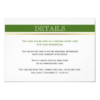 Green & white stripes gold wedding insert card