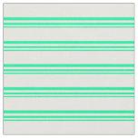 [ Thumbnail: Green & White Stripes/Lines Pattern Fabric ]