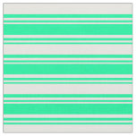 [ Thumbnail: Green & White Stripes/Lines Pattern Fabric ]