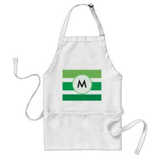 Green White Stripes Monogram Pattern Adult Apron
