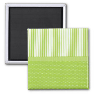 Green White Stripes Polka Dots with a Ribbon 2 Inch Square Magnet