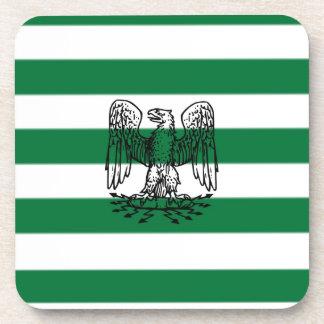 Green & White Stripes with Bird Beverage Coaster