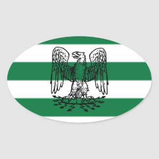 Green & White Stripes with Bird Oval Sticker