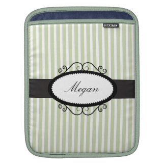 Green & White Stripes with white oval for name Sleeves For iPads
