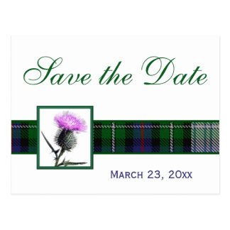 Green, White Tartan Thistle Save the Date Postcard