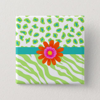 Green, White & Teal Zebra & Cheetah Orange Flower Button