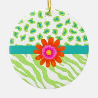 Green, White & Teal Zebra & Cheetah Orange Flower Ceramic Ornament