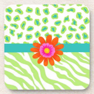 Green, White & Teal Zebra & Cheetah Orange Flower Beverage Coasters