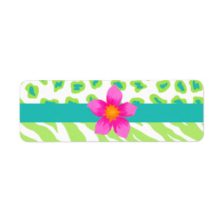 Green, White & Teal Zebra & Cheetah Orange Flower Label