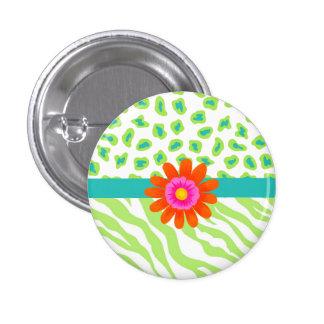 Green, White & Teal Zebra & Cheetah Orange Flower Pinback Button