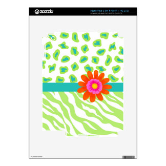 Green, White & Teal Zebra & Cheetah Orange Flower Skins For iPad 3