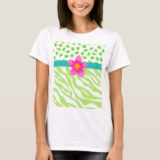 Green, White & Teal Zebra & Cheetah Orange Flower T-Shirt