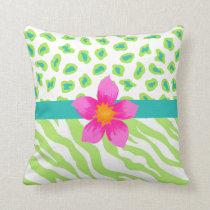 Green, White & Teal Zebra & Cheetah Orange Flower Throw Pillow