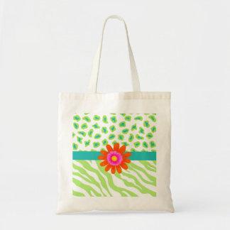 Green, White & Teal Zebra & Cheetah Orange Flower Tote Bag