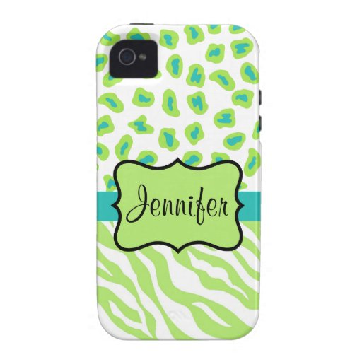 Green, White & Teal Zebra & Cheetah Personalized iPhone 4/4S Case