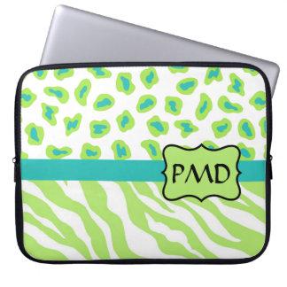 Green, White & Teal Zebra & Cheetah Personalized Computer Sleeves