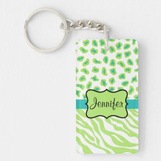 Green, White & Teal Zebra & Cheetah Personalized Double-Sided Rectangular Acrylic Keychain